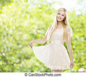 Woman White Summer Lace Dress, Young Girl Blond Long Straight Hair, Fashion Model Posing