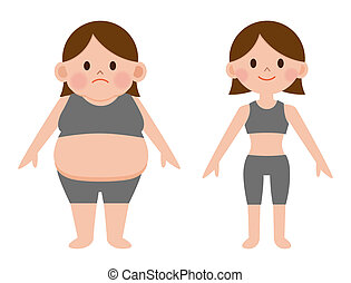 Weight loss represented by an obese human and a fit woman who has lost fat and burned calories