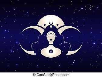 Woman Wicca mother earth symbol of sexual procreation. Spiral goddess of fertility and triple moon Wiccan. The spiral cycle of life, death and rebirth. Crescent, half and full moon vector starry sky