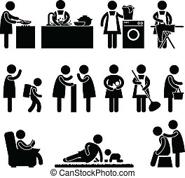 Woman Wife Mother Daily Routine - A set of pictogram about a...