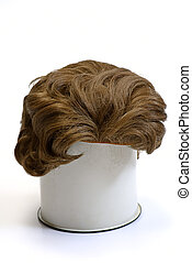 woman wig on white isolated
