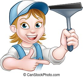 Woman Window Cleaner Cartoon Character - A handyman window...