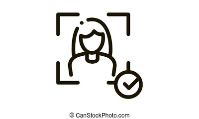 Woman Winner Human Talent animated black icon on white background