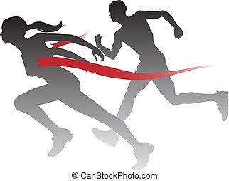 Woman winning a race - A woman winning a race breaking...