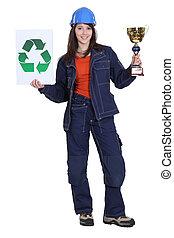 Woman winning price for environmental awareness