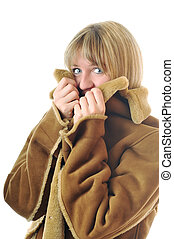 woman winter coat - happy woman in winter coat isolated on...
