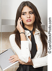 woman wit tablet and mobile phone