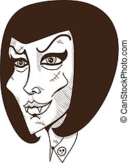 Woman witch face. - Halloween design element. Eps 10 vector...