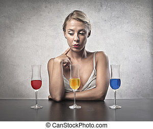 Woman with 3 drinks