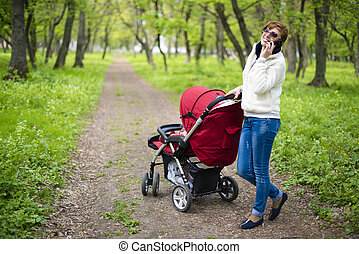 woman with a baby carriage