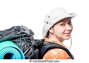 woman with a backpack looked back, portrait on a white background