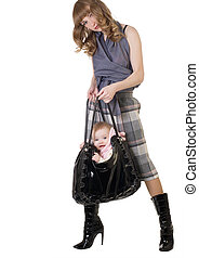 Woman with a bag and baby