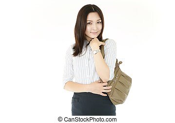 Woman with a bag.