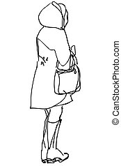 woman with a bag standing with his back to us