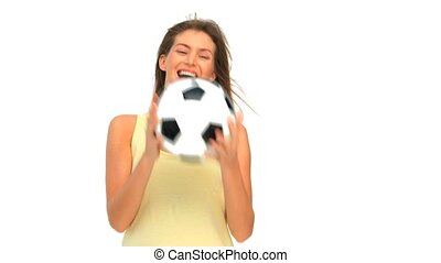 Woman with a ball of soccer
