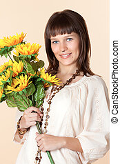 woman with a beautiful bouquet of flowers