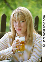 Woman with a beer glass