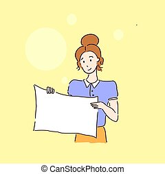 Woman with a blank board simple sketch drawing