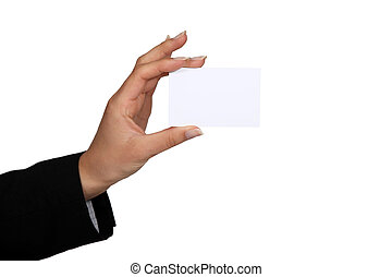 Woman with a blank businesscard