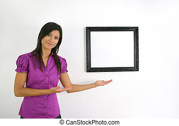 Woman with a blank picture