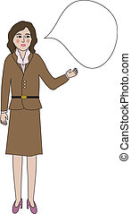 Woman with a blank speech bubble