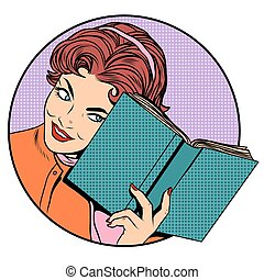 Woman with a book pop art retro style. Literature and...