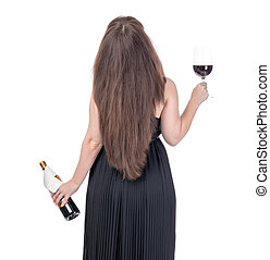 Woman with a bottle of red wine