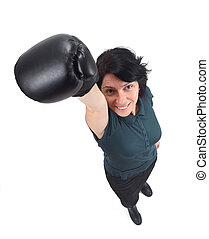 woman with a boxing glove on white background