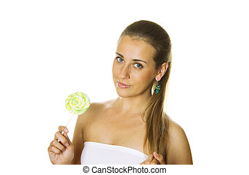 Woman with a bright lollipop