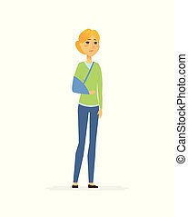 Woman with a broken arm - cartoon people characters isolated...