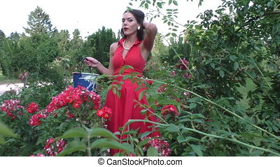 Woman with a bucket in a flower bed. - Woman with a bucket...