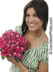 Woman with a bunch of roses