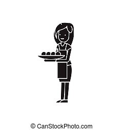 Woman with a cake black vector concept icon. Woman with a cake flat illustration, sign