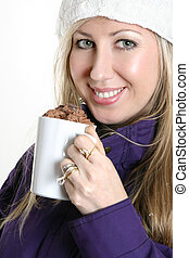 Woman with a chocolate beverage