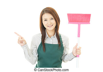 Woman with a cleaning
