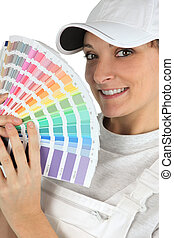 Woman with a color chart