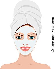 Woman with a cosmetic face mask.
