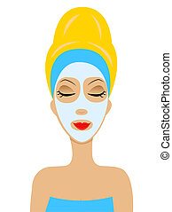 woman with a cosmetic mask on face