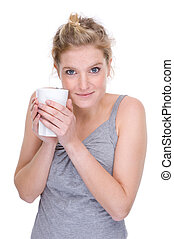 Woman with a cup - Full isolated portrait of a beautiful ...