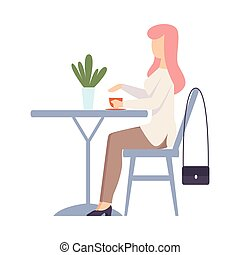 Woman with a cup is sitting at the table. Vector illustration.