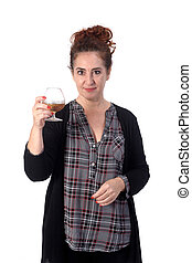 woman with a cup of alcohol on white background