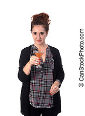 woman with a cup of cocktail on white background