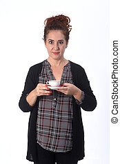 woman with a cup of coffe on white background