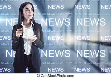 Woman with a cup of coffee in her hand thinking about the news