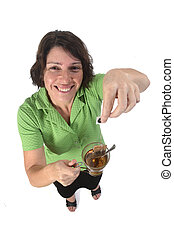 woman with a cup of infusion on white background