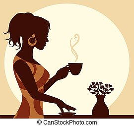 woman with a cup of steaming coffee