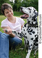 woman  with a Dalmatian