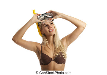 woman with a diving mask
