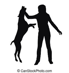 Woman with a dog. Exercise, training, walk, walking the dog. Vector silhouette
