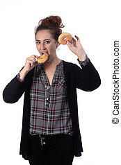 woman with a donut on white background